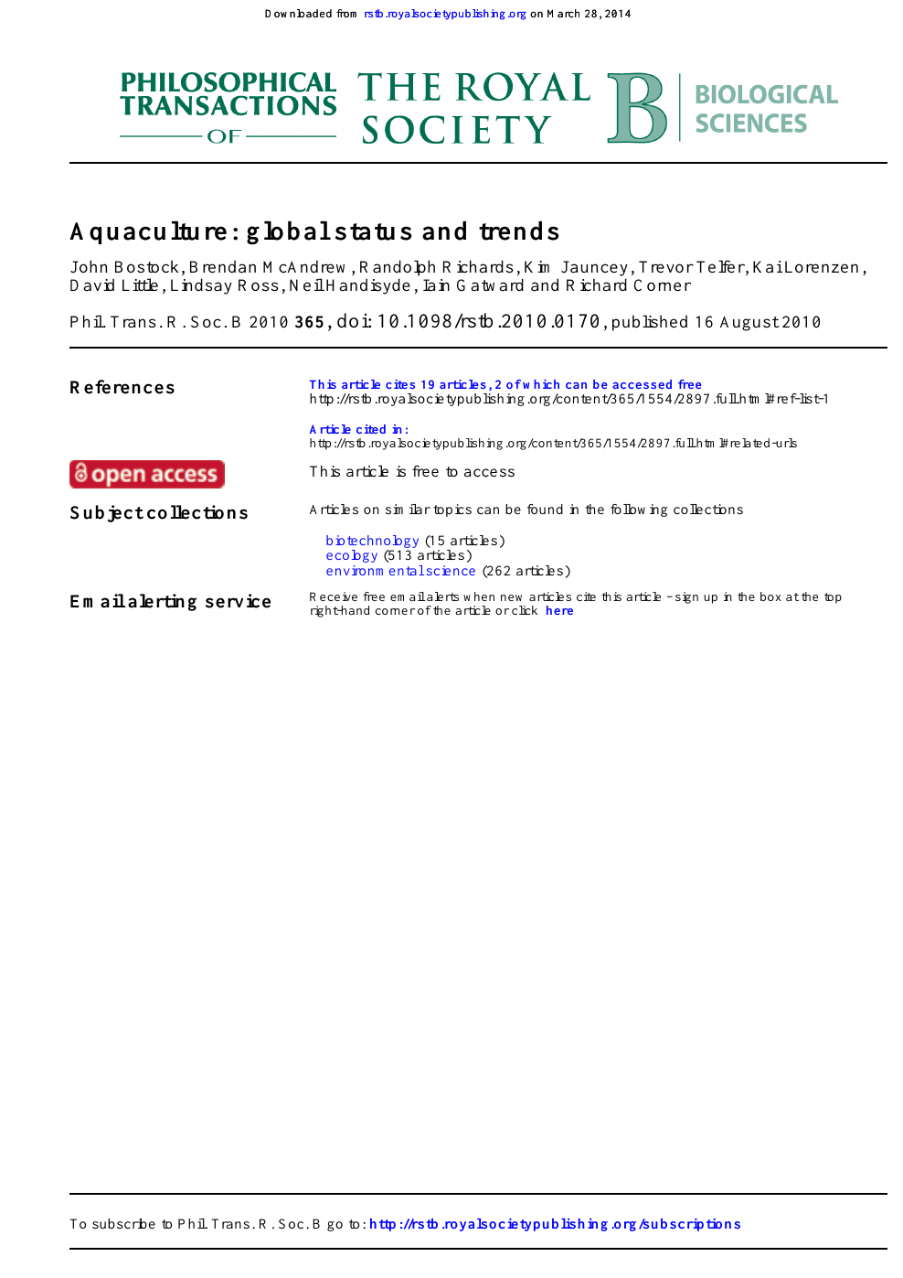 Aquaculture: global status and trends – topic of research