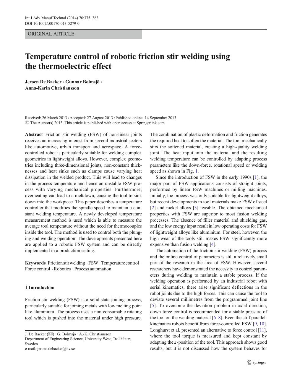Temperature control of robotic friction stir welding using