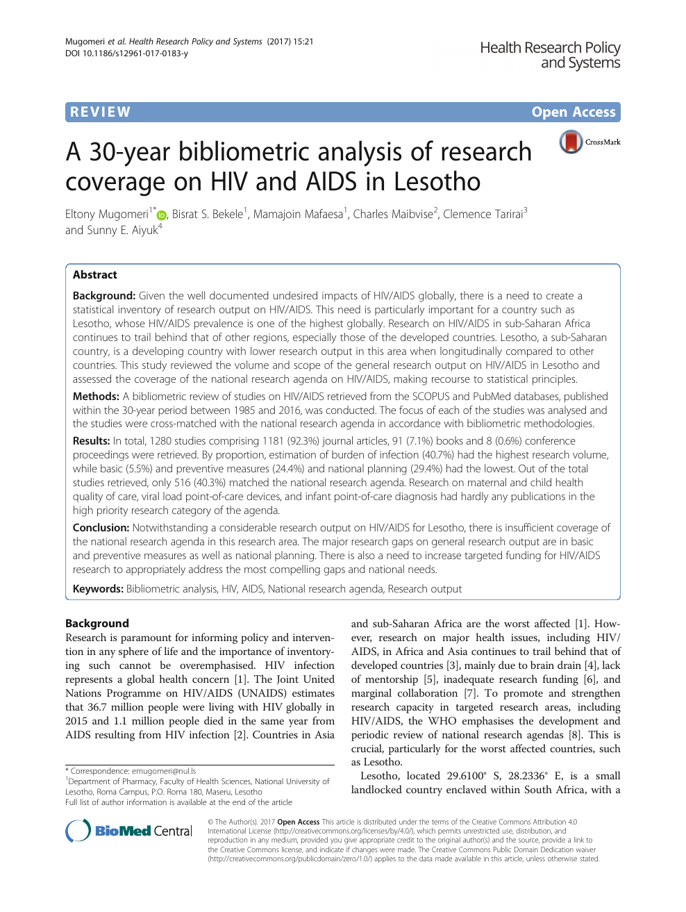 A Year Bibliometric Analysis Of Research Coverage On Hiv And Aids  Read Paper