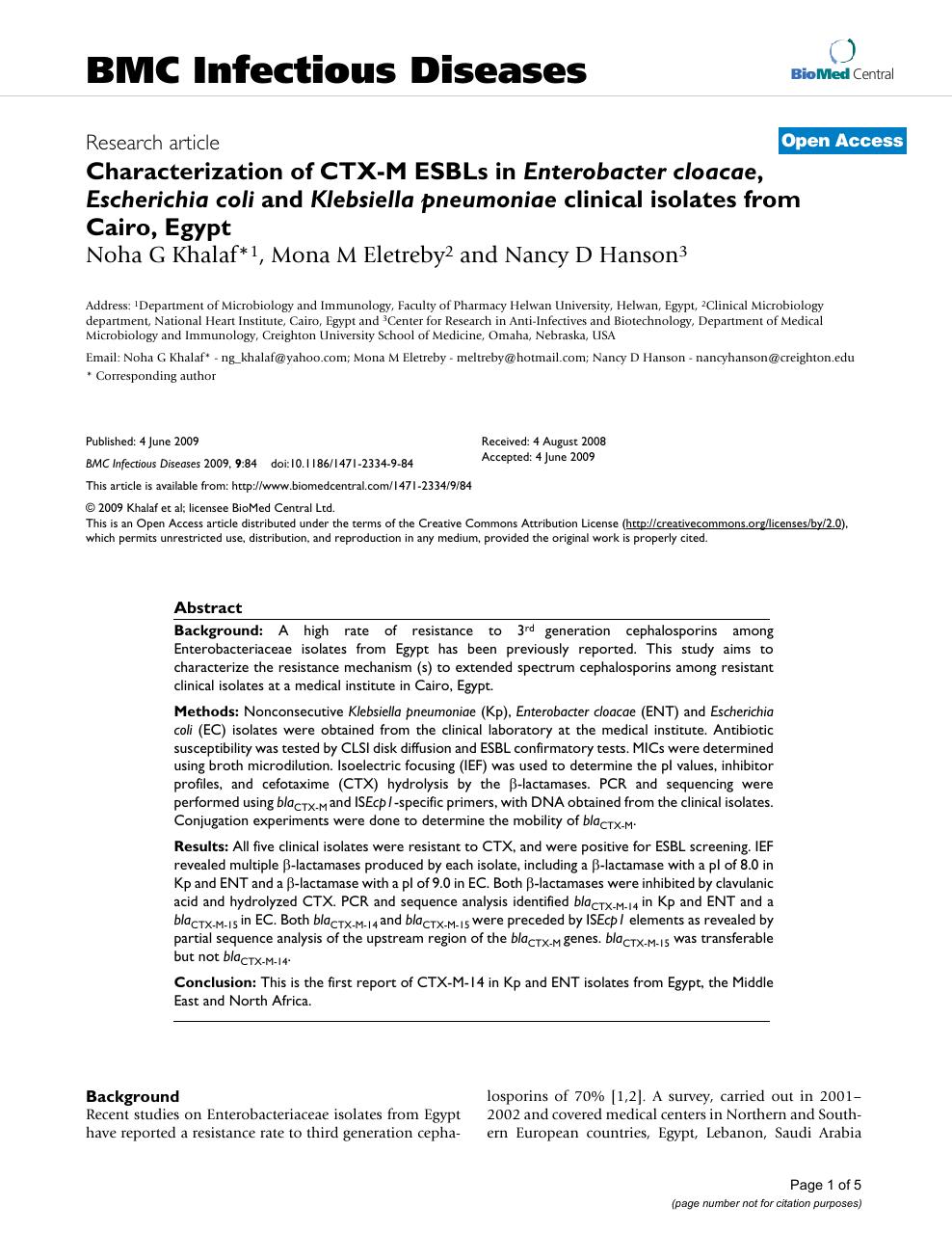 Characterization of CTX-M ESBLs in Enterobacter cloacae