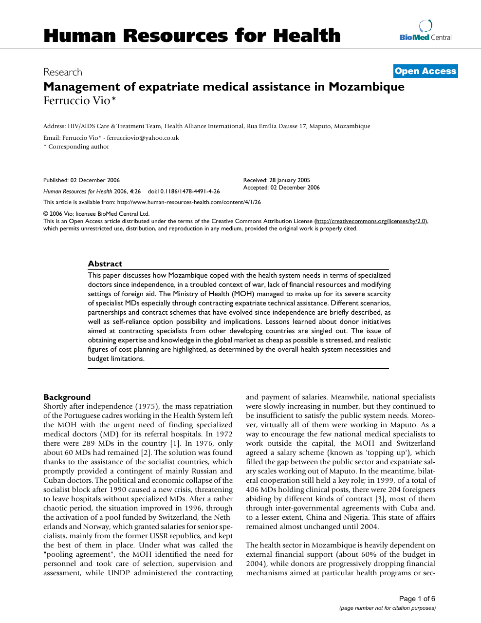 Management of expatriate medical assistance in Mozambique