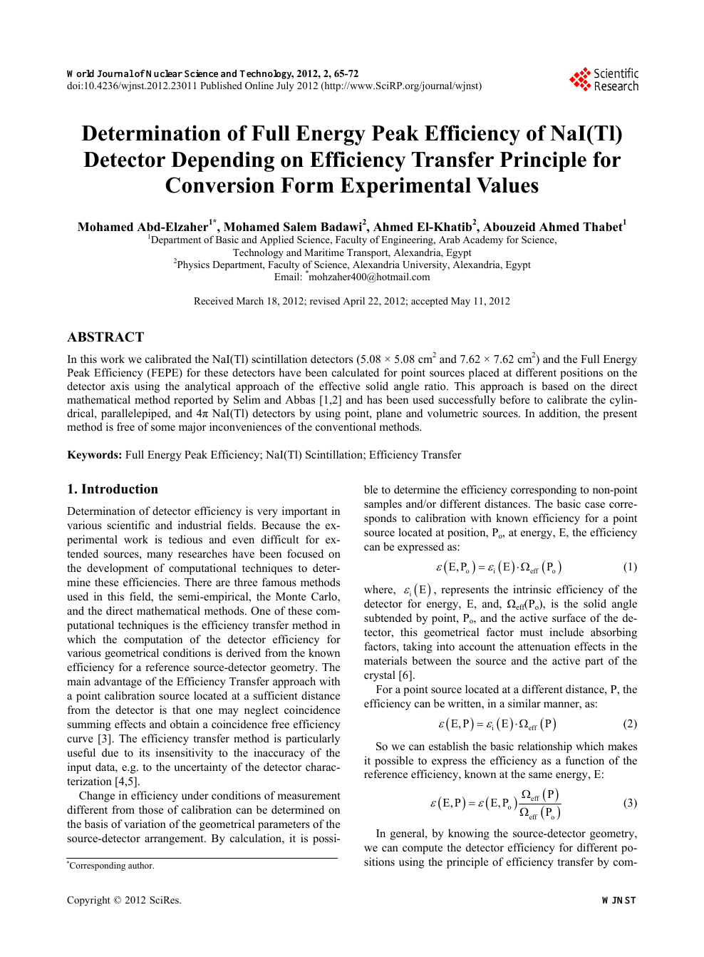 Determination of Full Energy Peak Efficiency of NaI(Tl) Detector