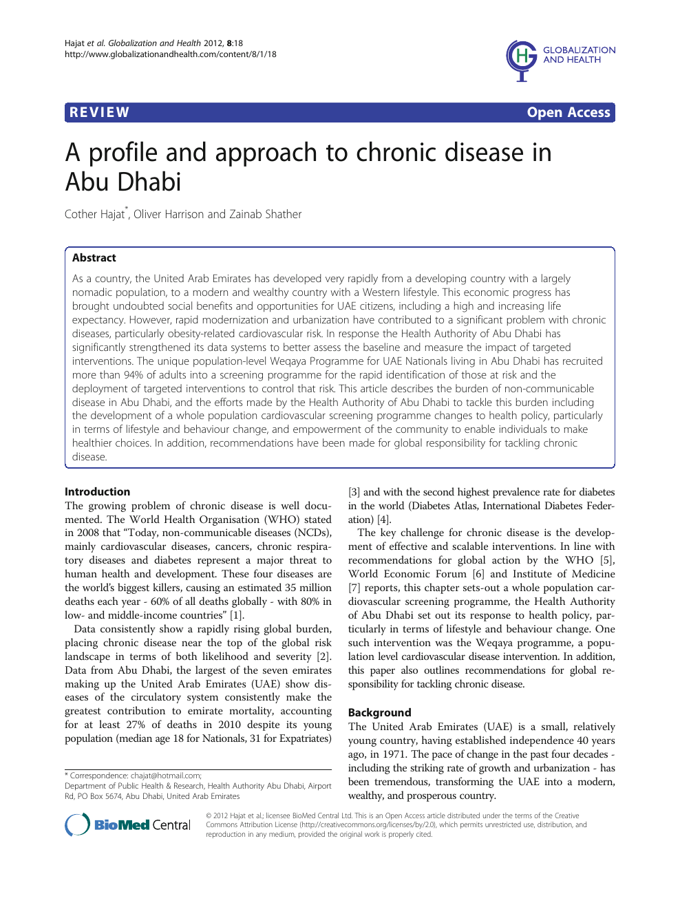 A profile and approach to chronic disease in Abu Dhabi – topic of