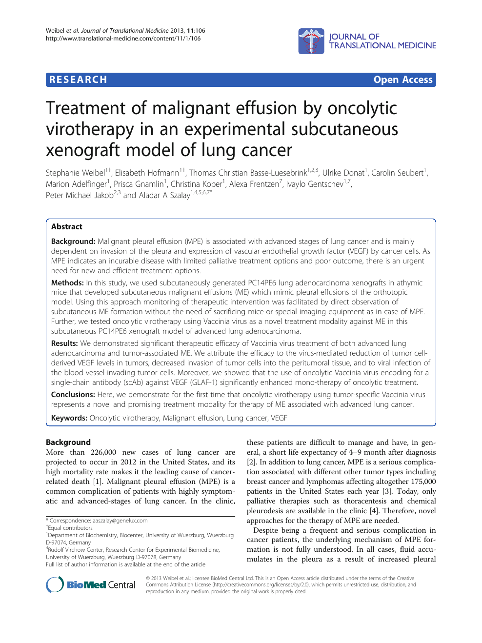 Treatment of malignant effusion by oncolytic virotherapy in