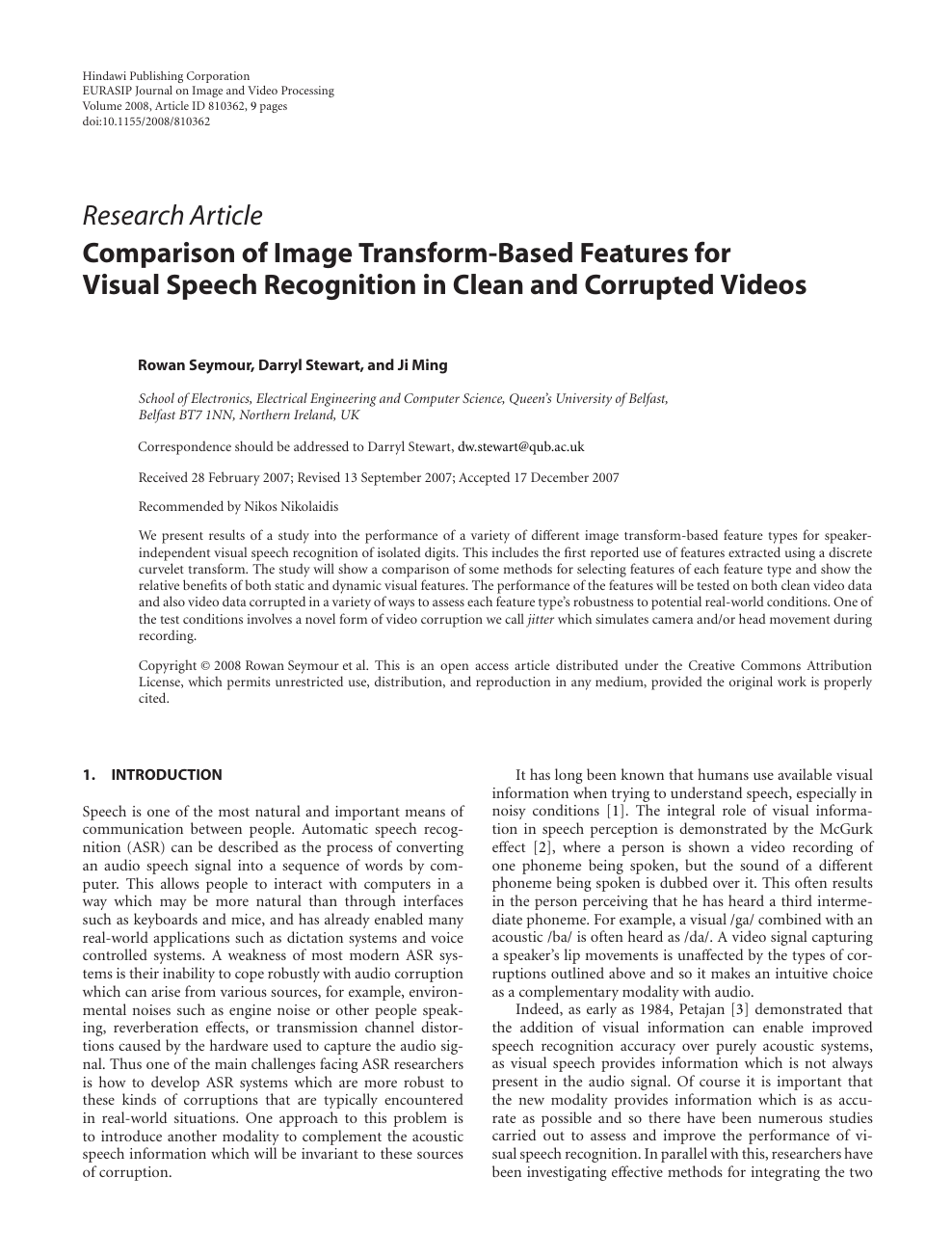 Comparison of Image Transform-Based Features for Visual