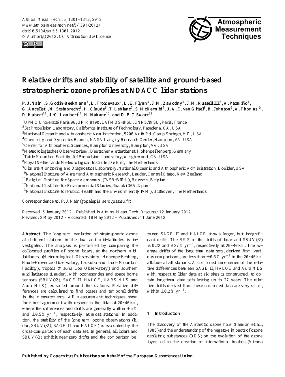Relative drifts and stability of satellite and ground-based stratospheric  ozone profiles at NDACC lidar stations – topic of research paper in Earth  and related environmental sciences. Download scholarly article PDF and read