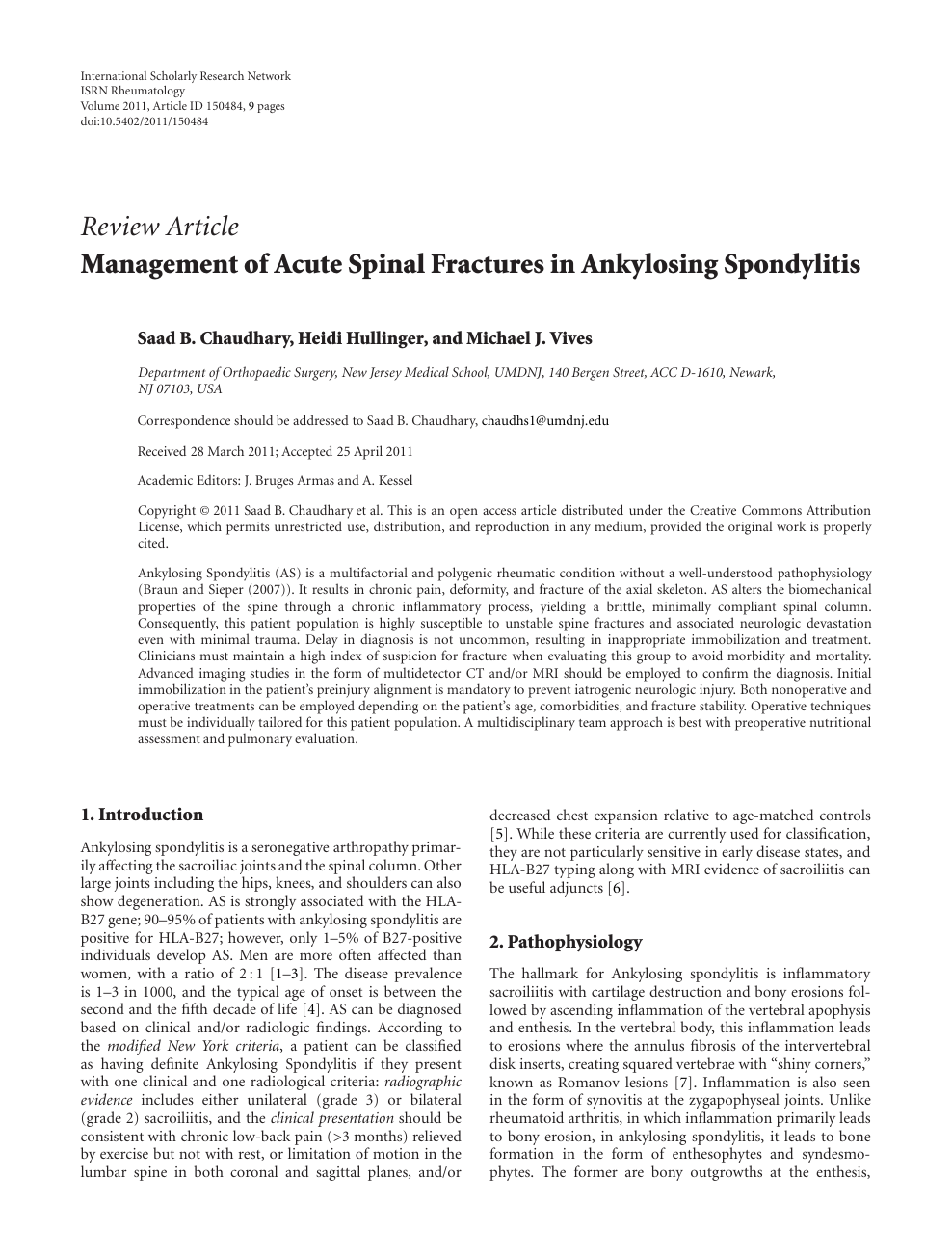 Management of Acute Spinal Fractures in Ankylosing