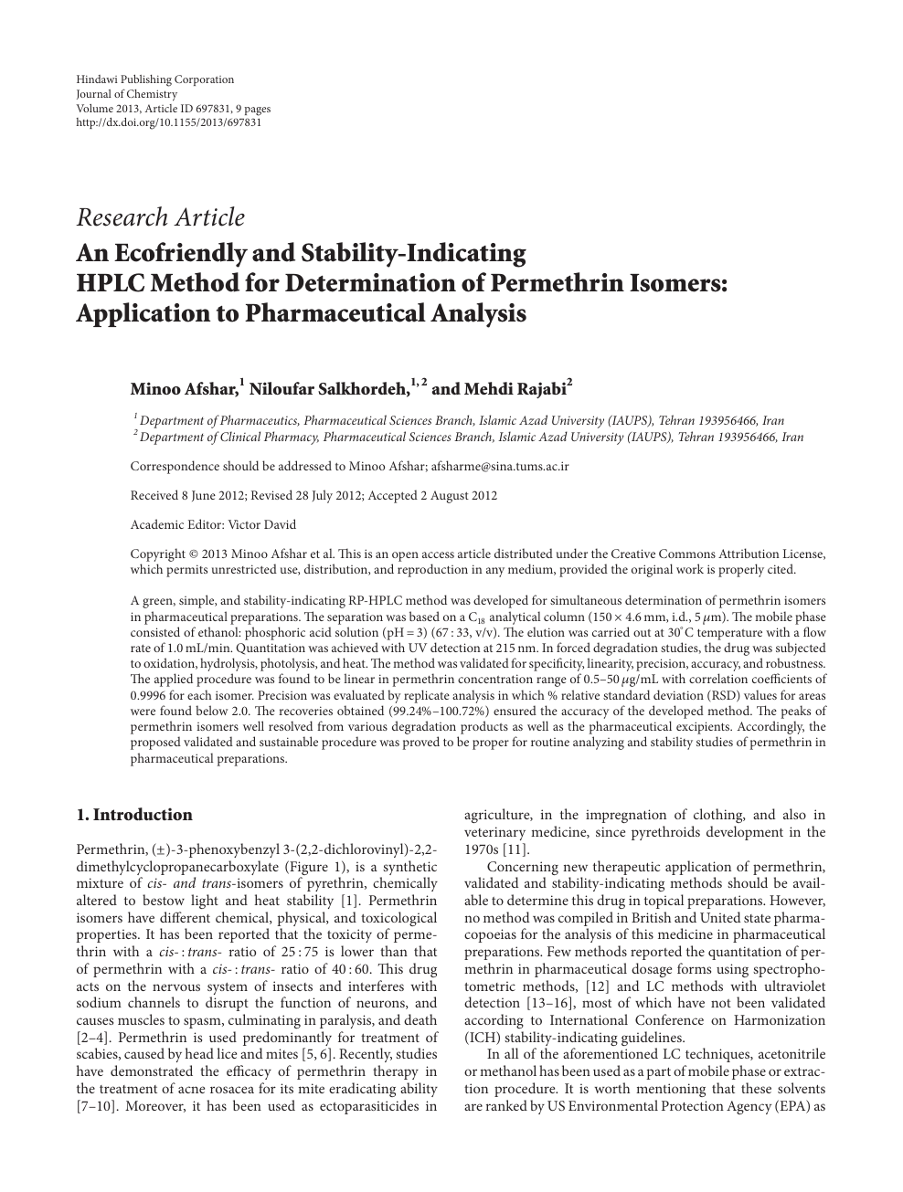An Ecofriendly and Stability-Indicating HPLC Method for