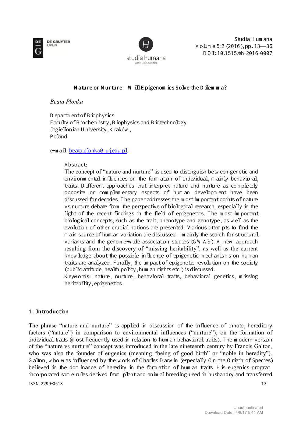 Nature or Nurture – Will Epigenomics Solve the Dilemma? – topic of