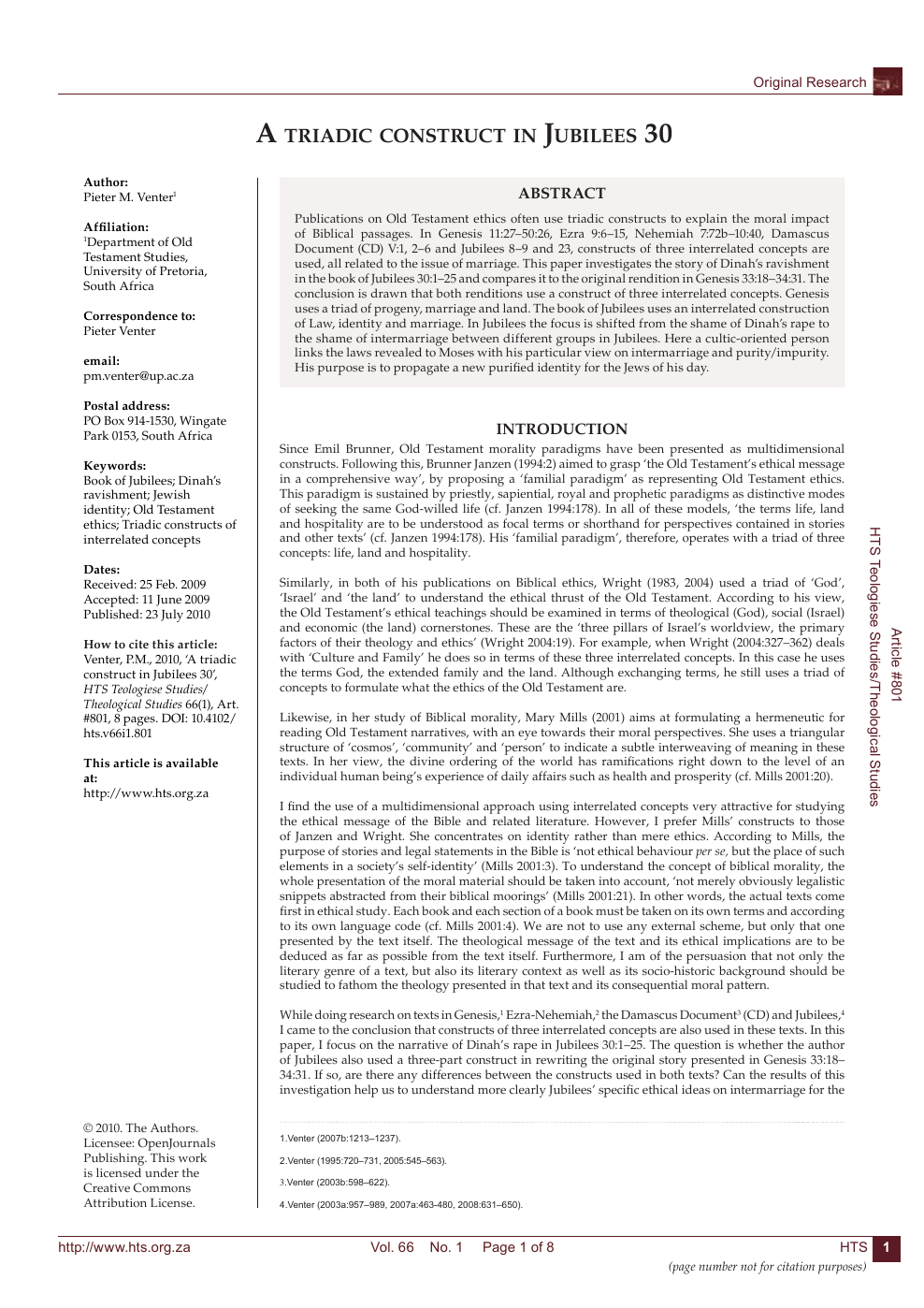 A triadic construct in Jubilees 30 – topic of research paper in