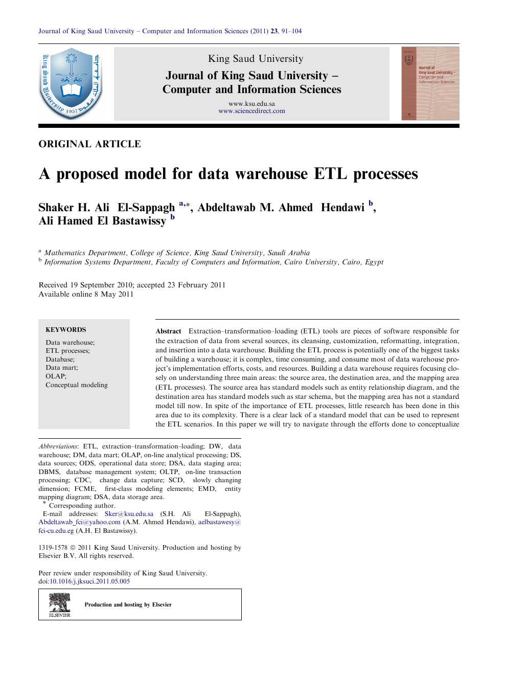 A proposed model for data warehouse ETL processes – topic of