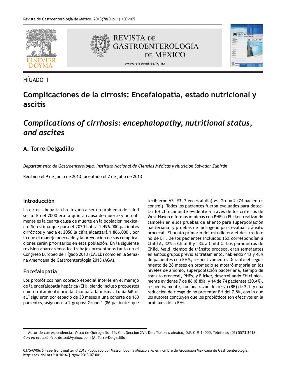 Encefalopatía hepática manejo dietético de la hipertensión