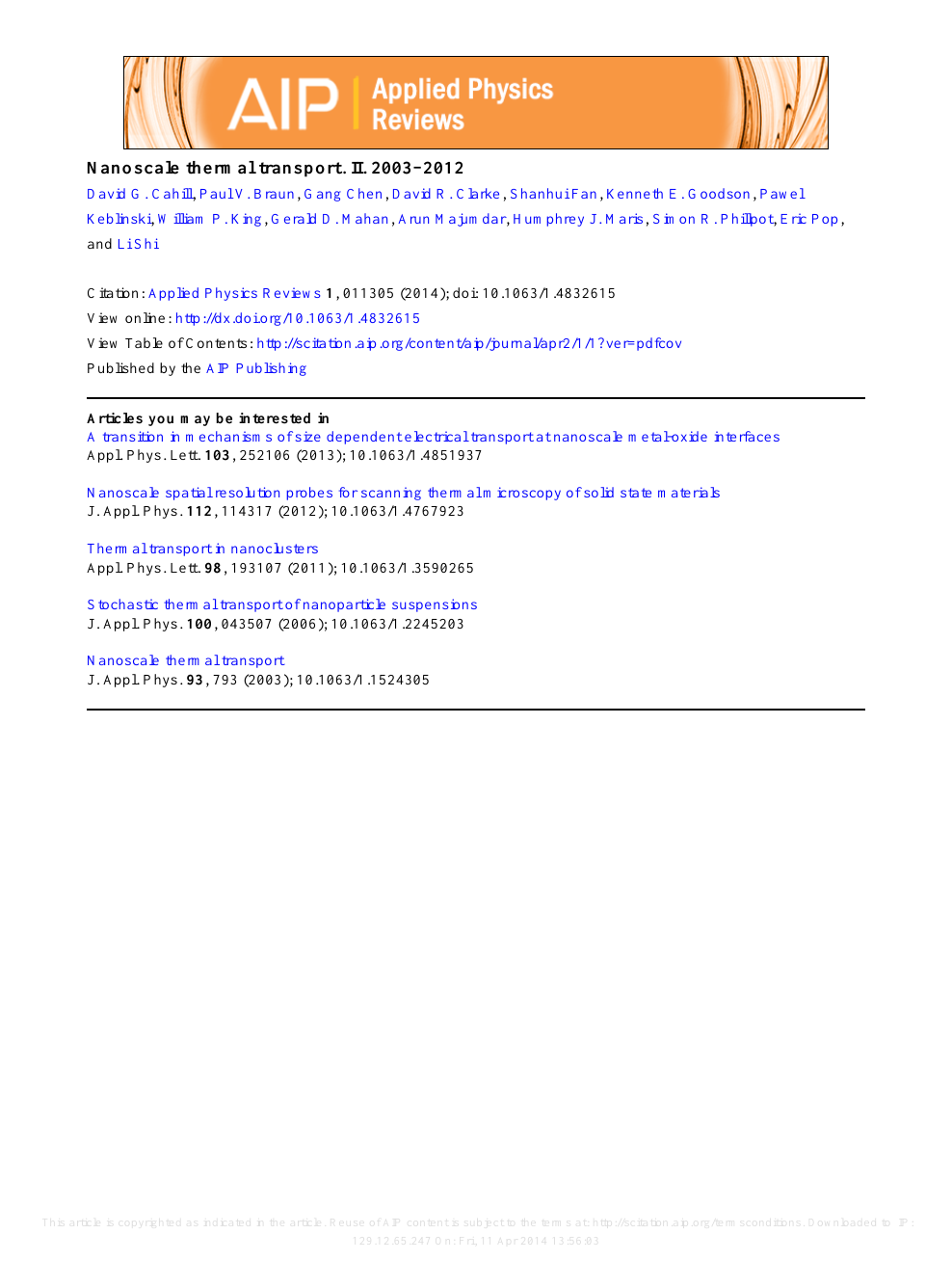 Nanoscale thermal transport  II  2003–2012 – topic of research paper
