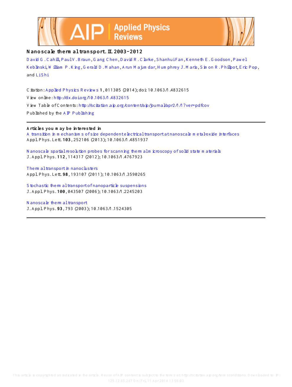 Nanoscale thermal transport  II  2003–2012 – topic of