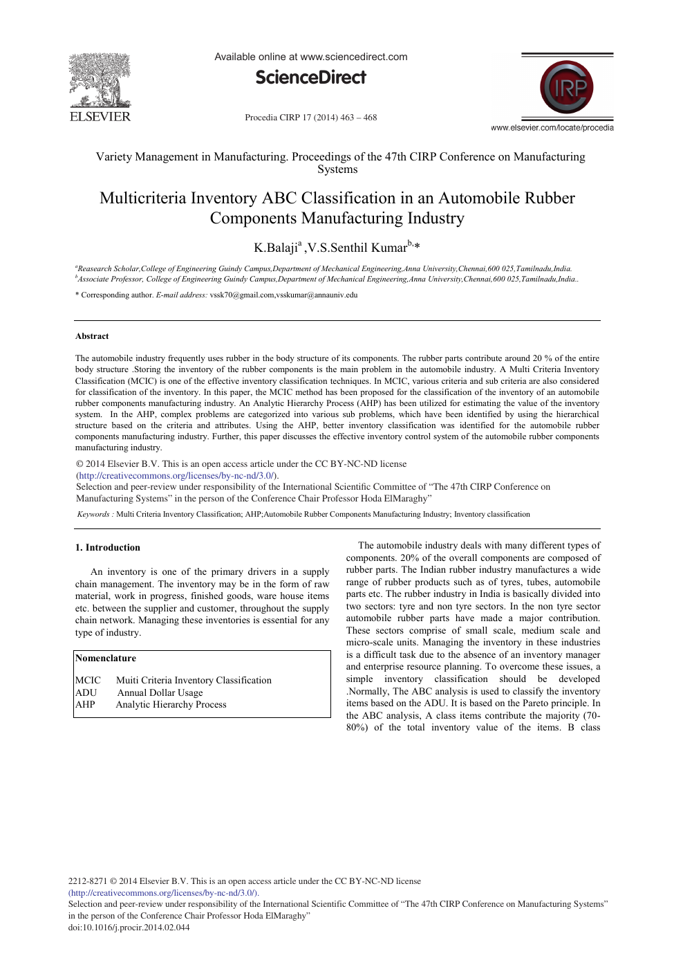Multicriteria Inventory ABC Classification in an Automobile