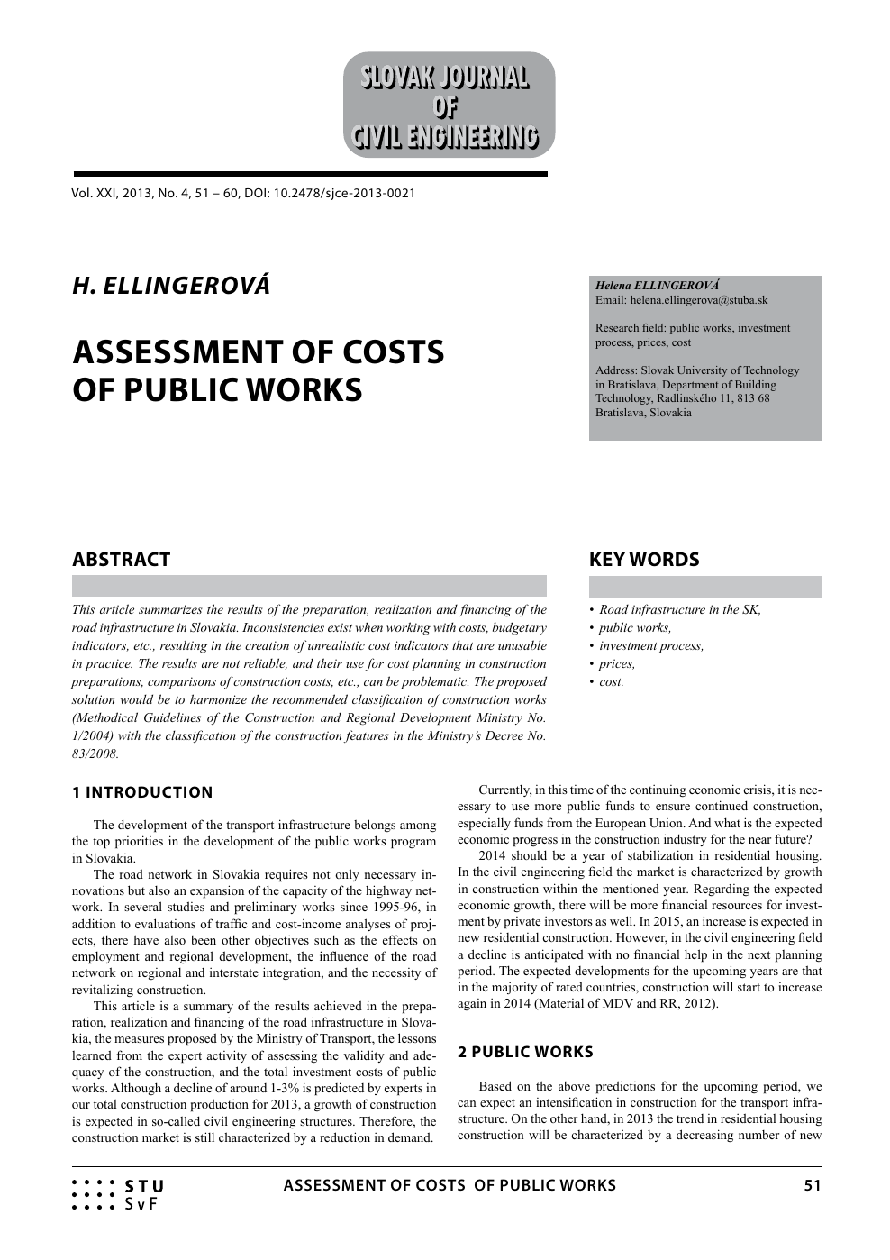 Assessment of Costs of Public Works – topic of research