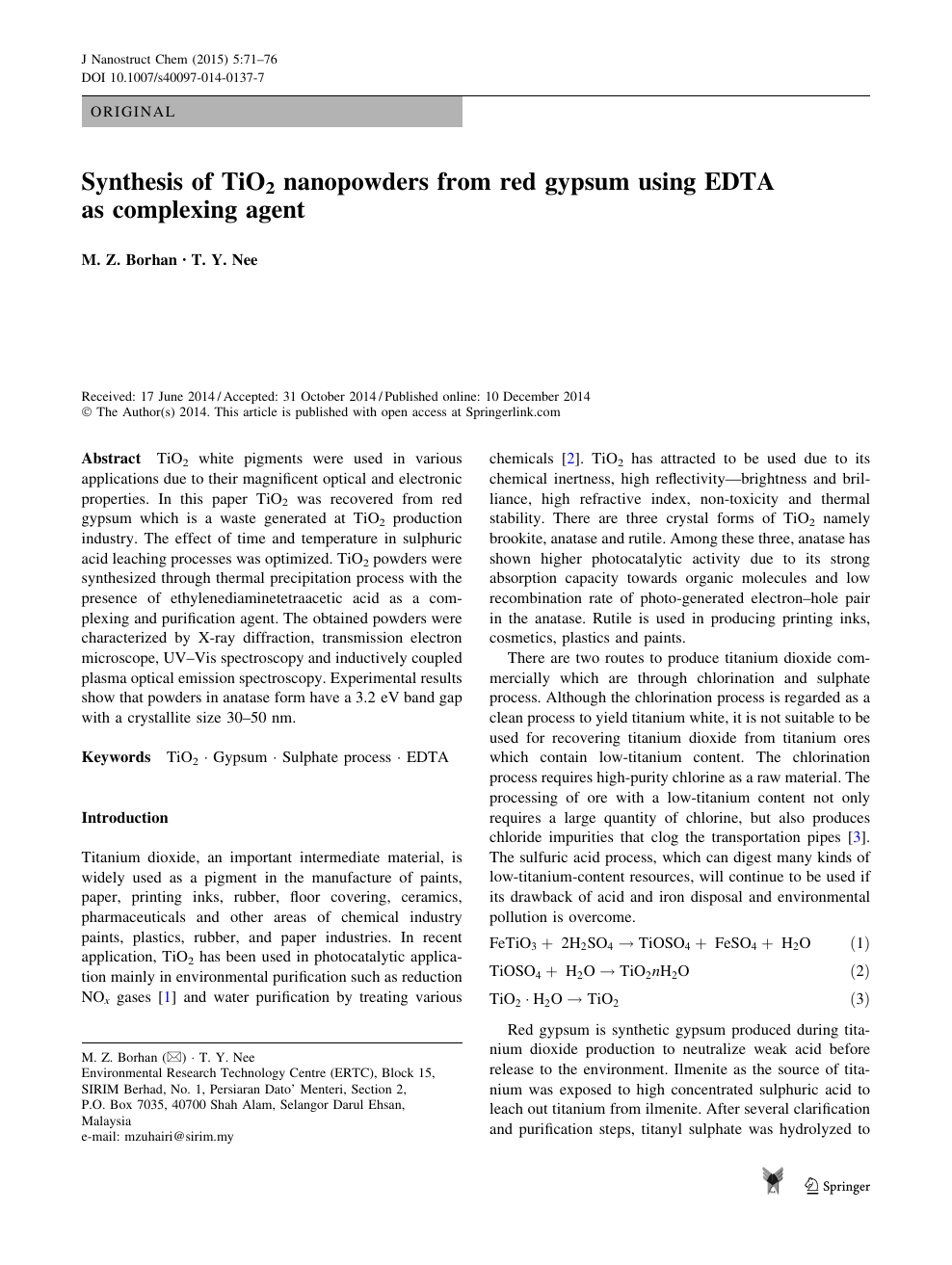 Synthesis of TiO2 nanopowders from red gypsum using EDTA as