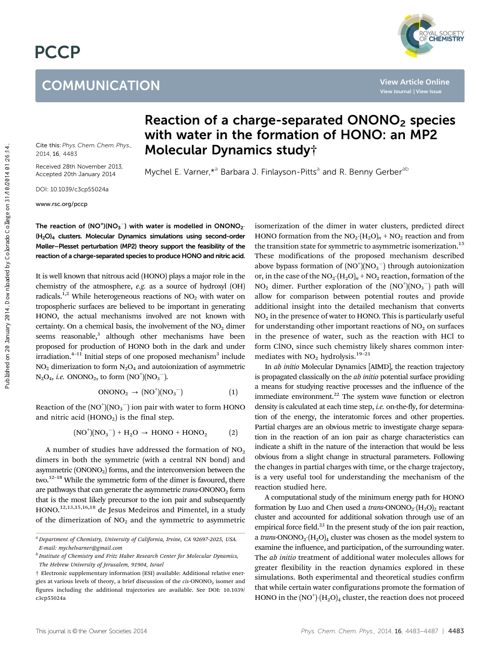 Reaction of a charge-separated ONONO2 species with water in