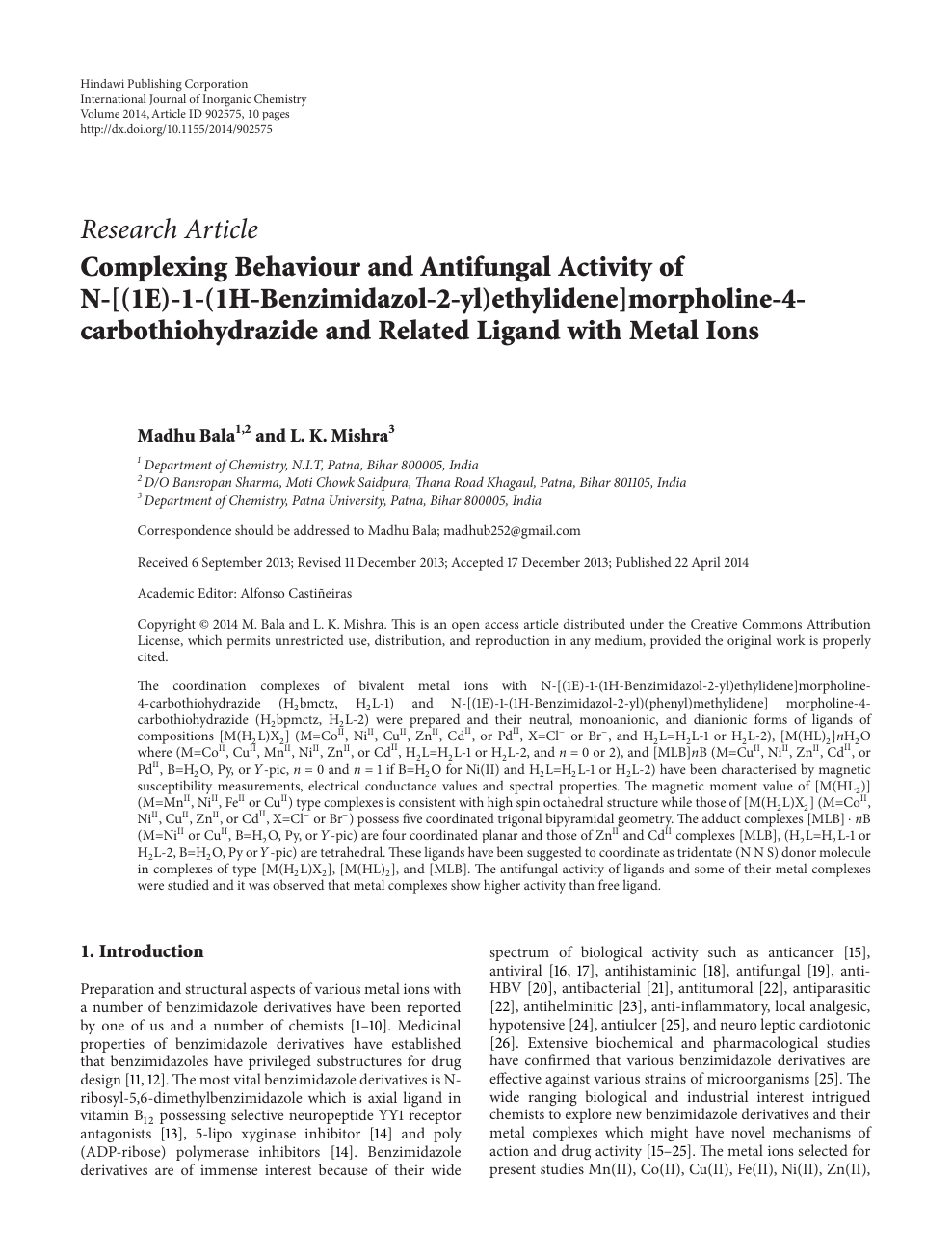 Complexing Behaviour and Antifungal Activity of N-[(1E)-1-(1H