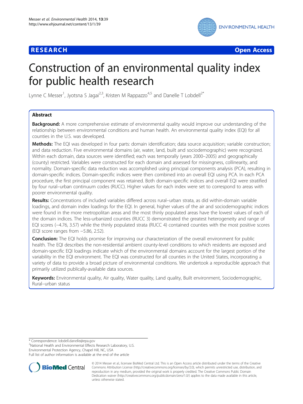 Construction of an environmental quality index for public