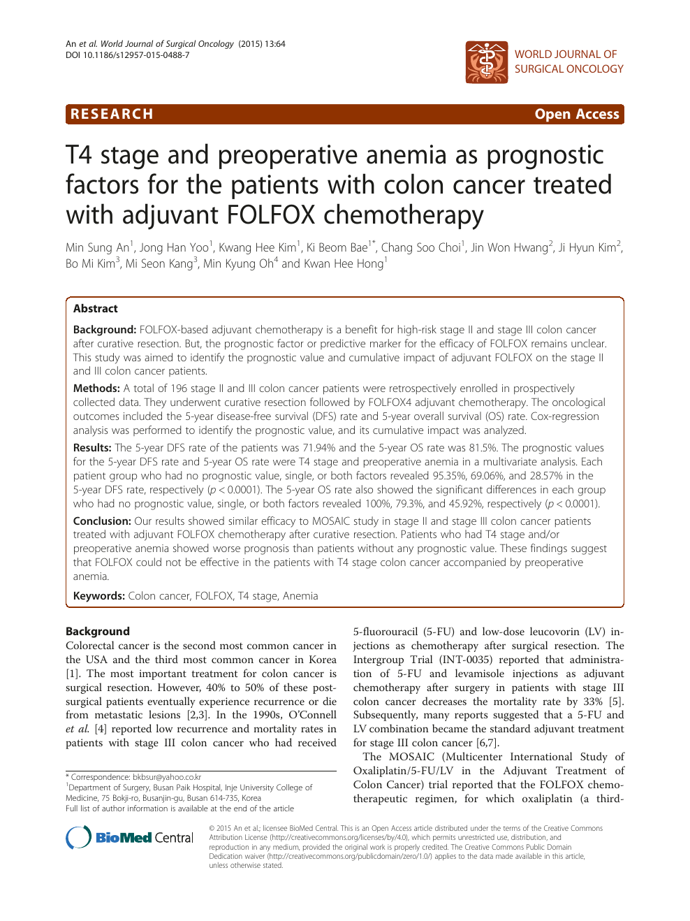 T4 Stage And Preoperative Anemia As Prognostic Factors For The Patients With Colon Cancer Treated With Adjuvant Folfox Chemotherapy Topic Of Research Paper In Clinical Medicine Download Scholarly Article Pdf And