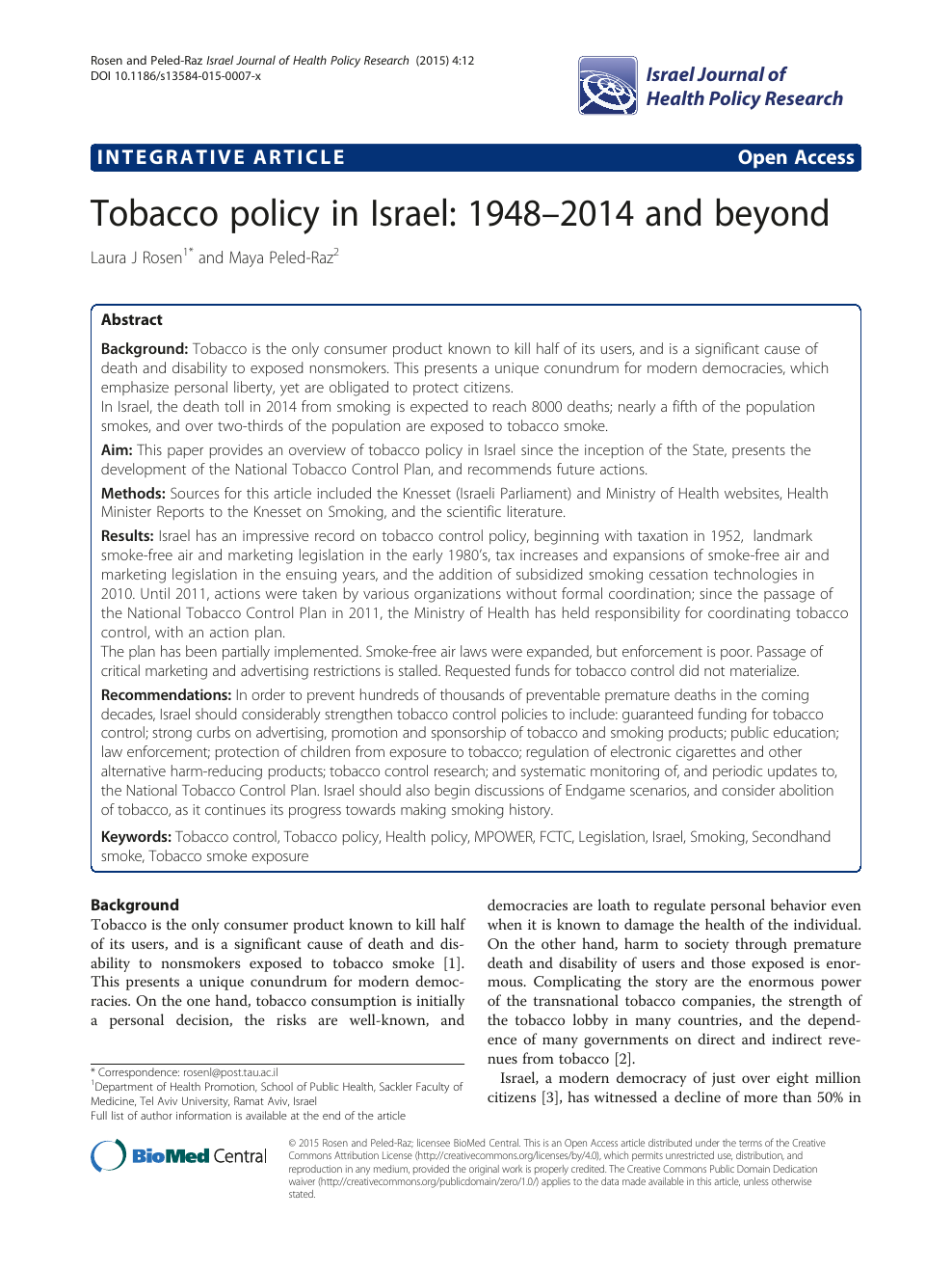 Tobacco policy in Israel: 1948–2014 and beyond – topic of