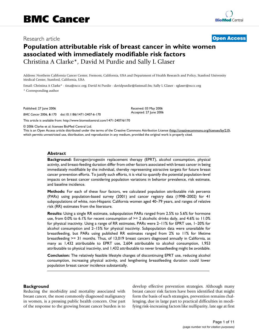 Population attributable risk of breast cancer in white women