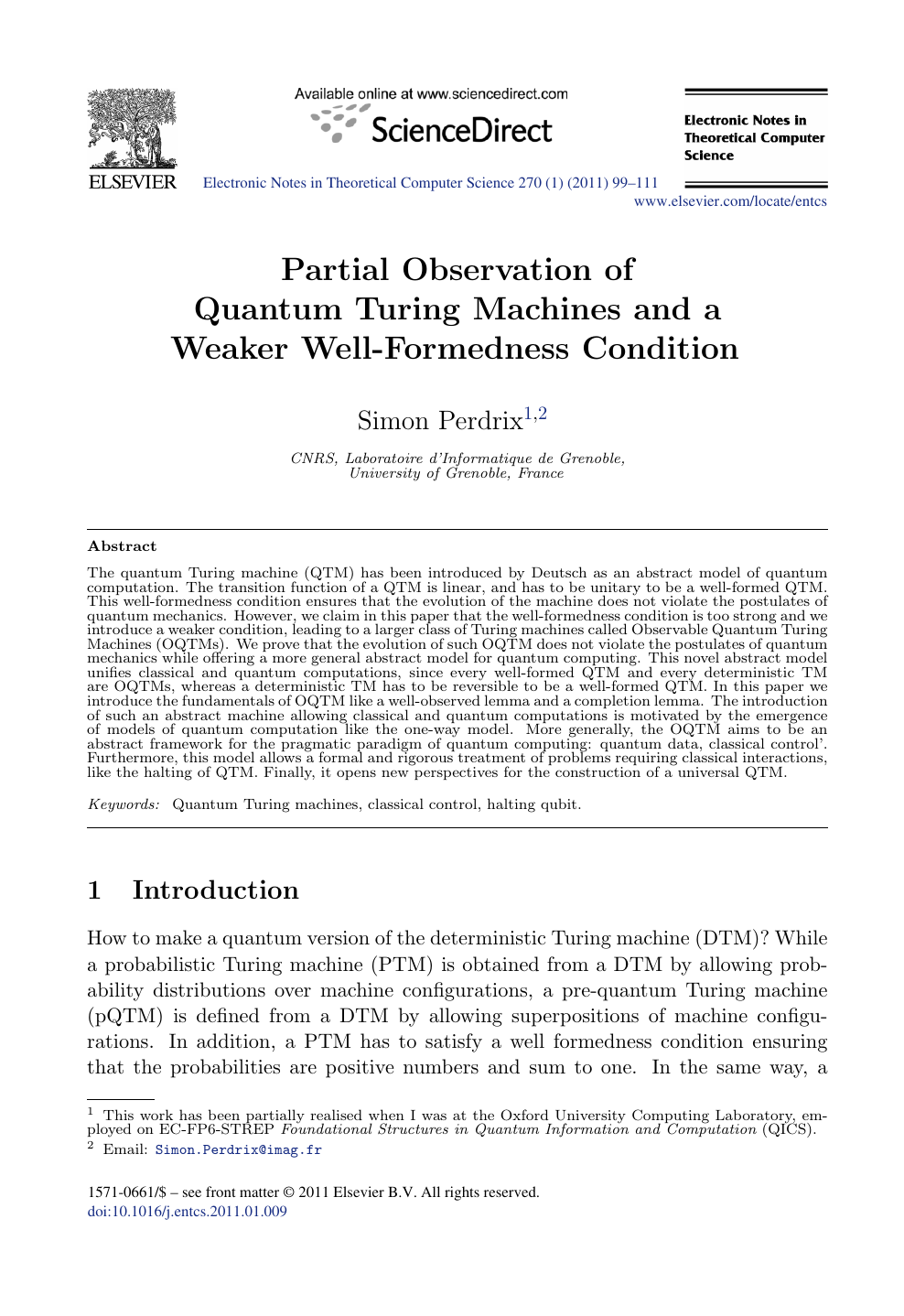 Partial Observation of Quantum Turing Machines and a Weaker