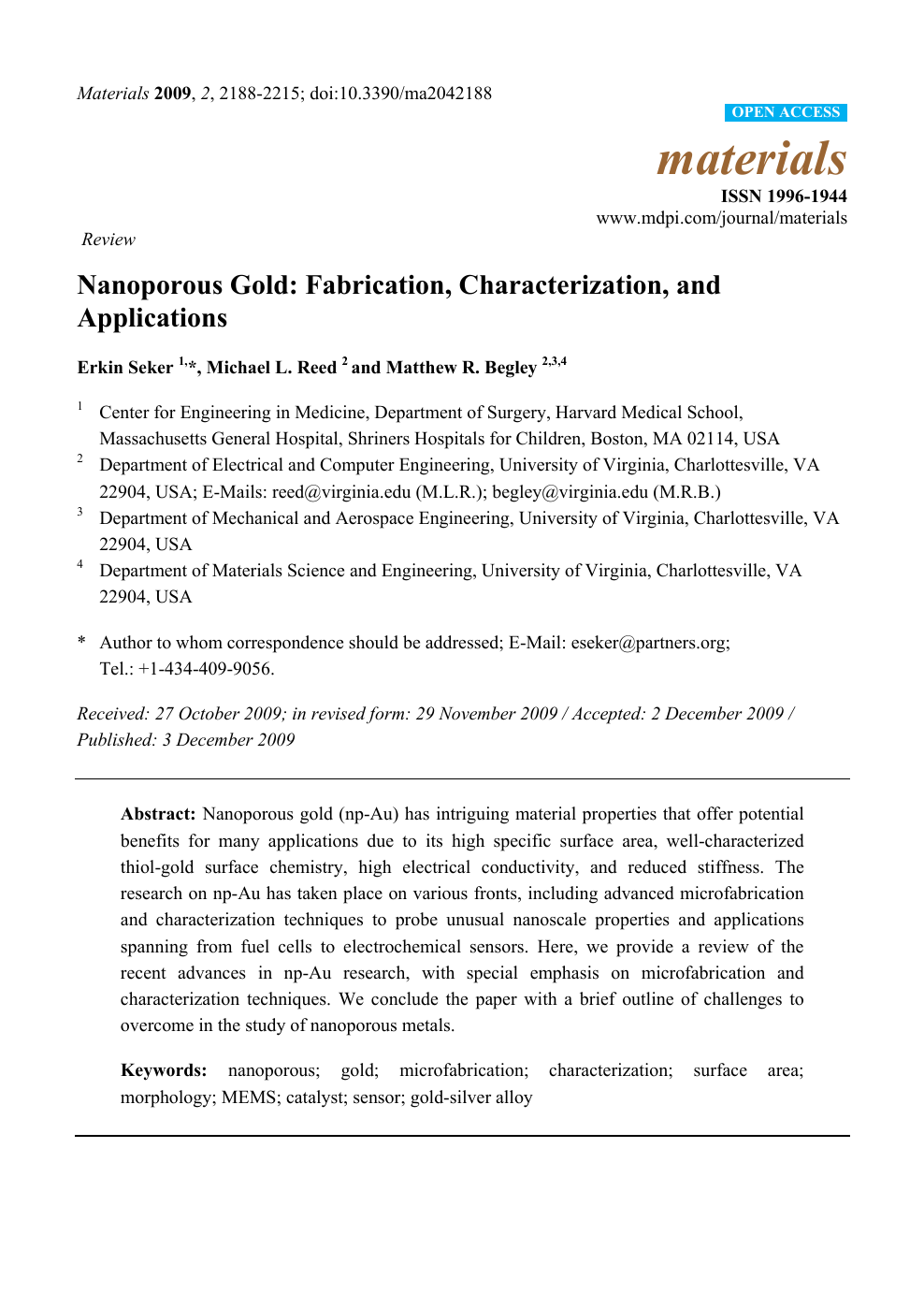Nanoporous Gold: Fabrication, Characterization, and