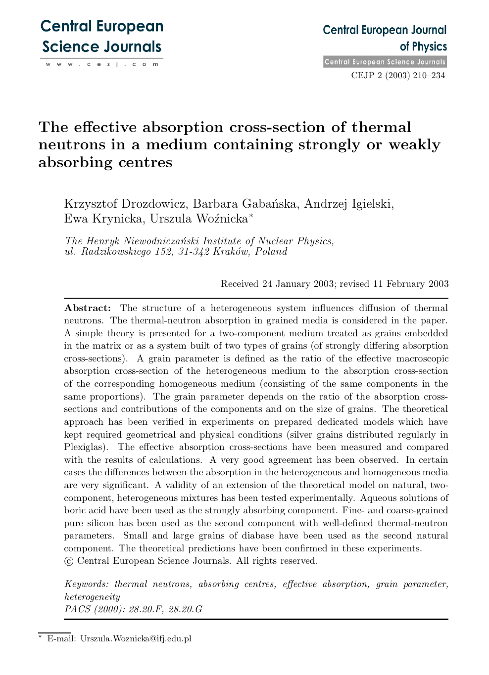 The effective absorption cross-section of thermal neutrons in a