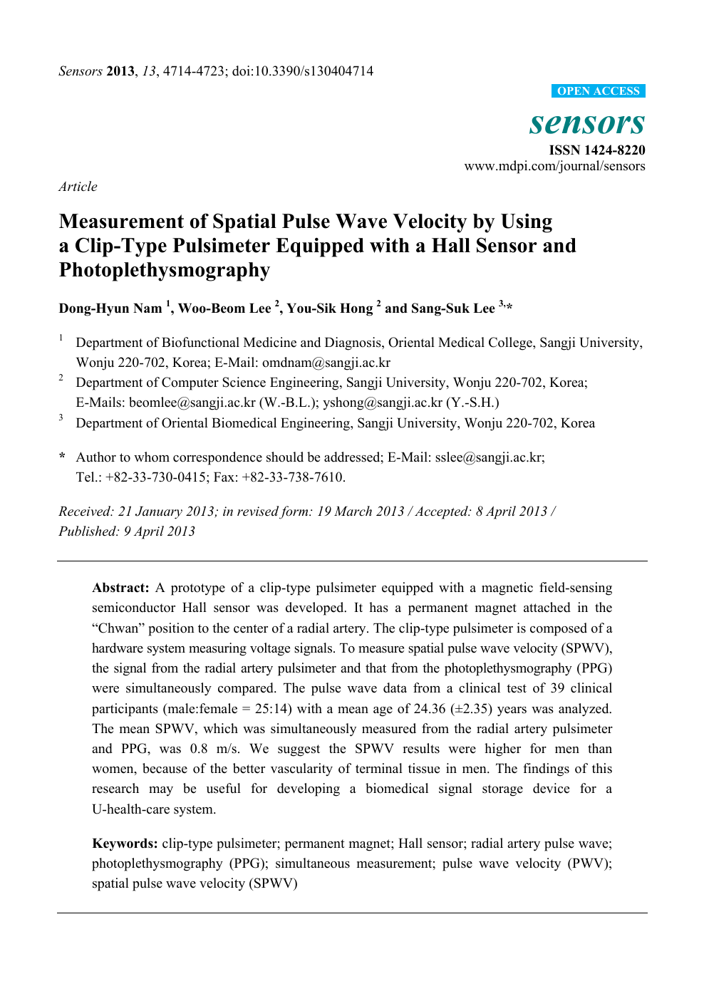 Measurement of Spatial Pulse Wave Velocity by Using a Clip-Type