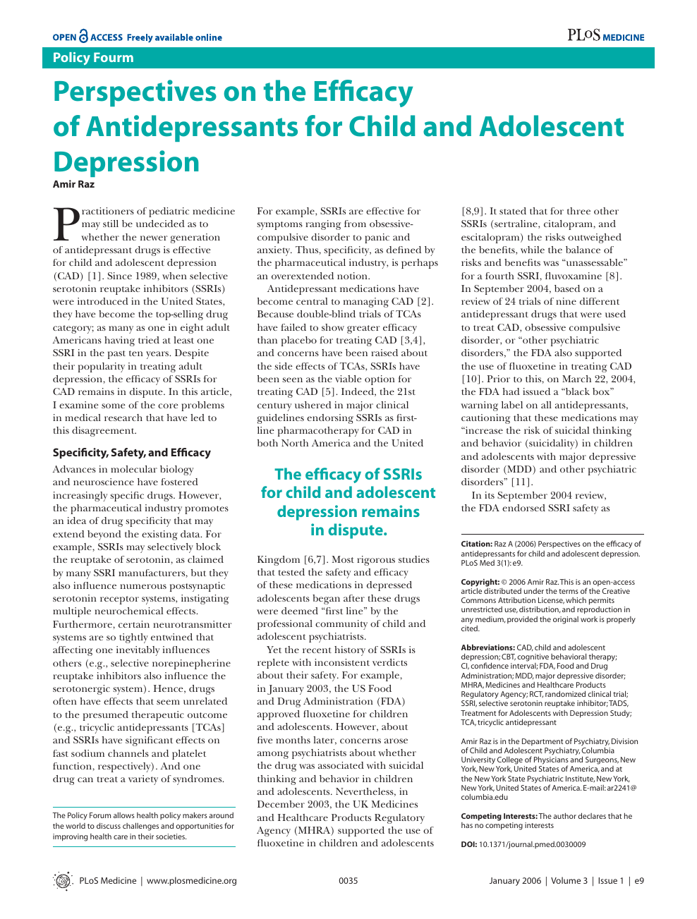 Perspectives on the Efficacy of Antidepressants for Child