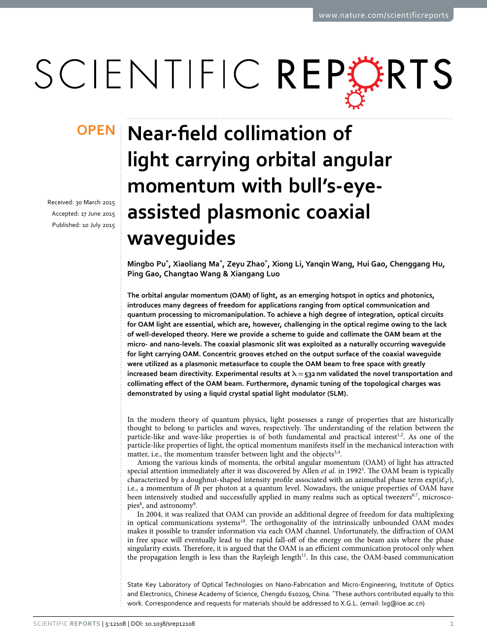 Near-field collimation of light carrying orbital angular