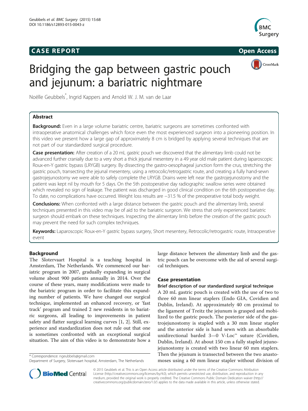 Bridging the gap between gastric pouch and jejunum: a