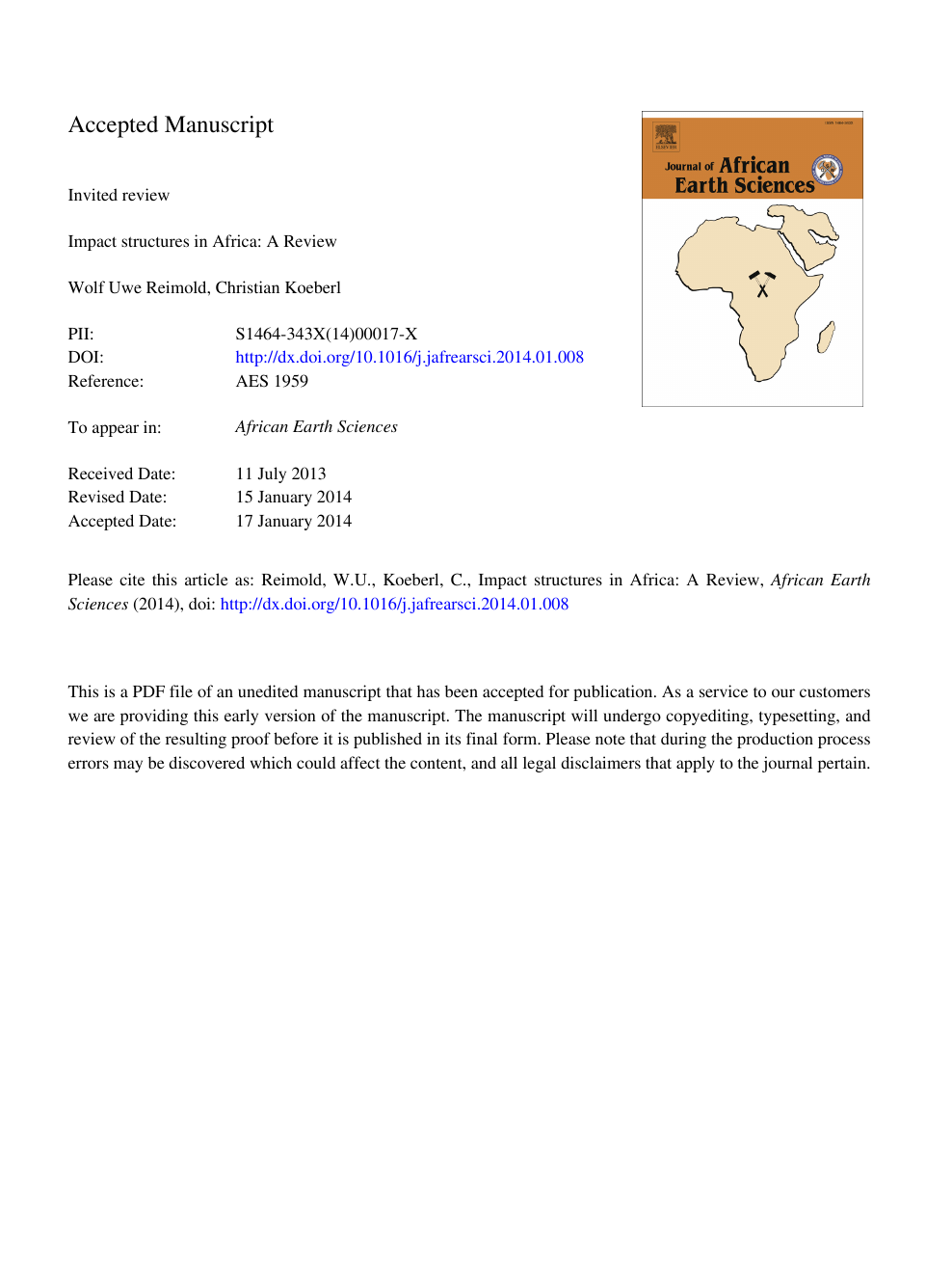 Impact structures in Africa: A review – topic of research
