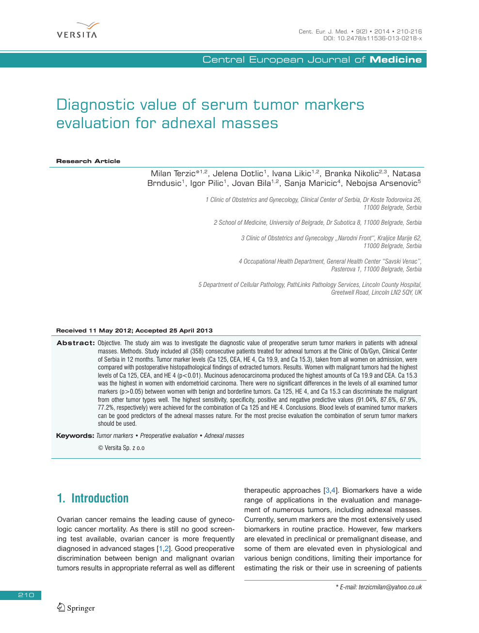 Diagnostic Value Of Serum Tumor Markers Evaluation For Adnexal