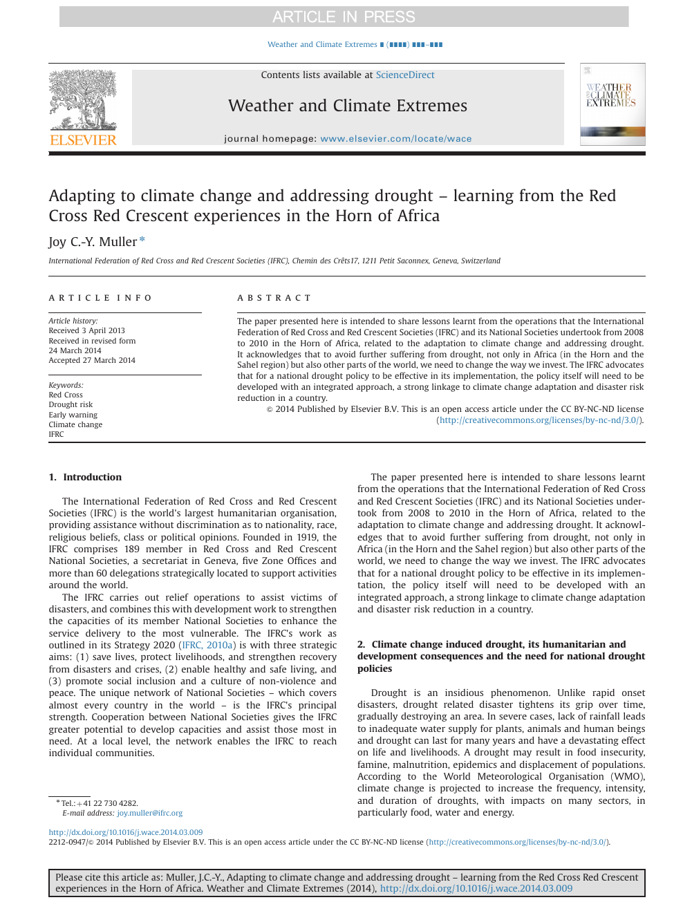 Adapting to climate change and addressing drought – learning