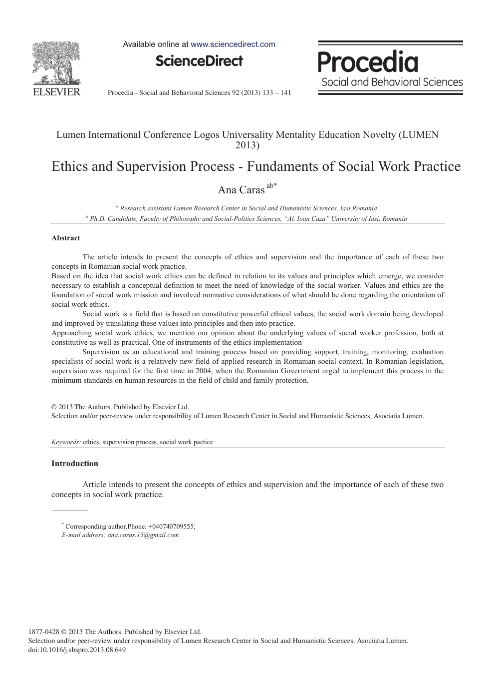 Ethics and Supervision Process - Fundaments of Social Work