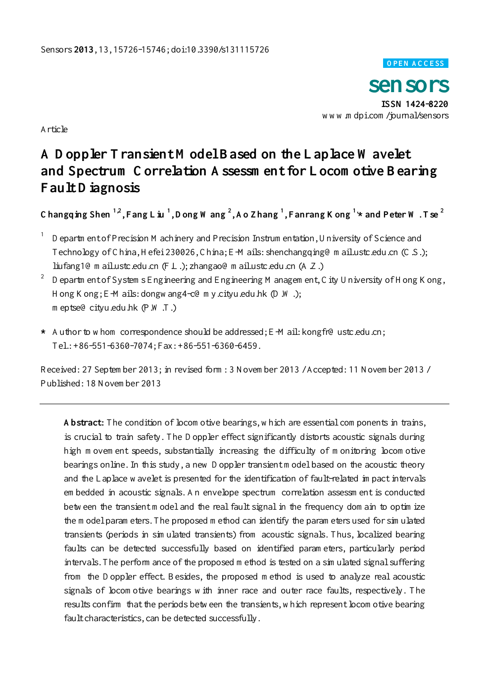 A Doppler Transient Model Based on the Laplace Wavelet and Spectrum