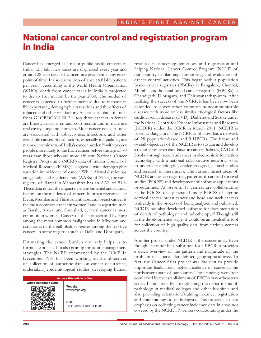 National cancer control and registration program in India