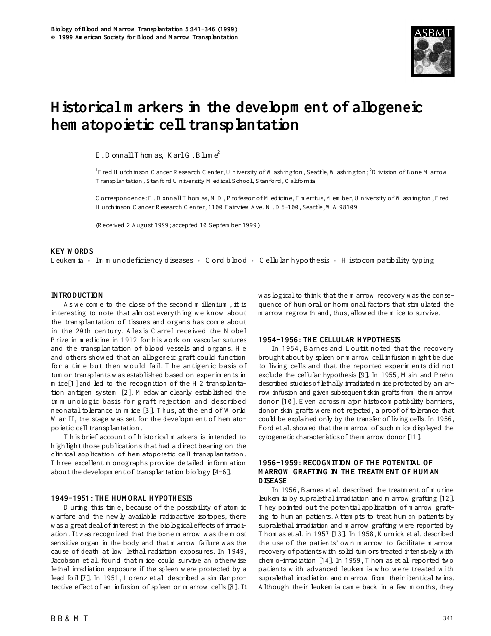 Historical markers in the development of allogeneic