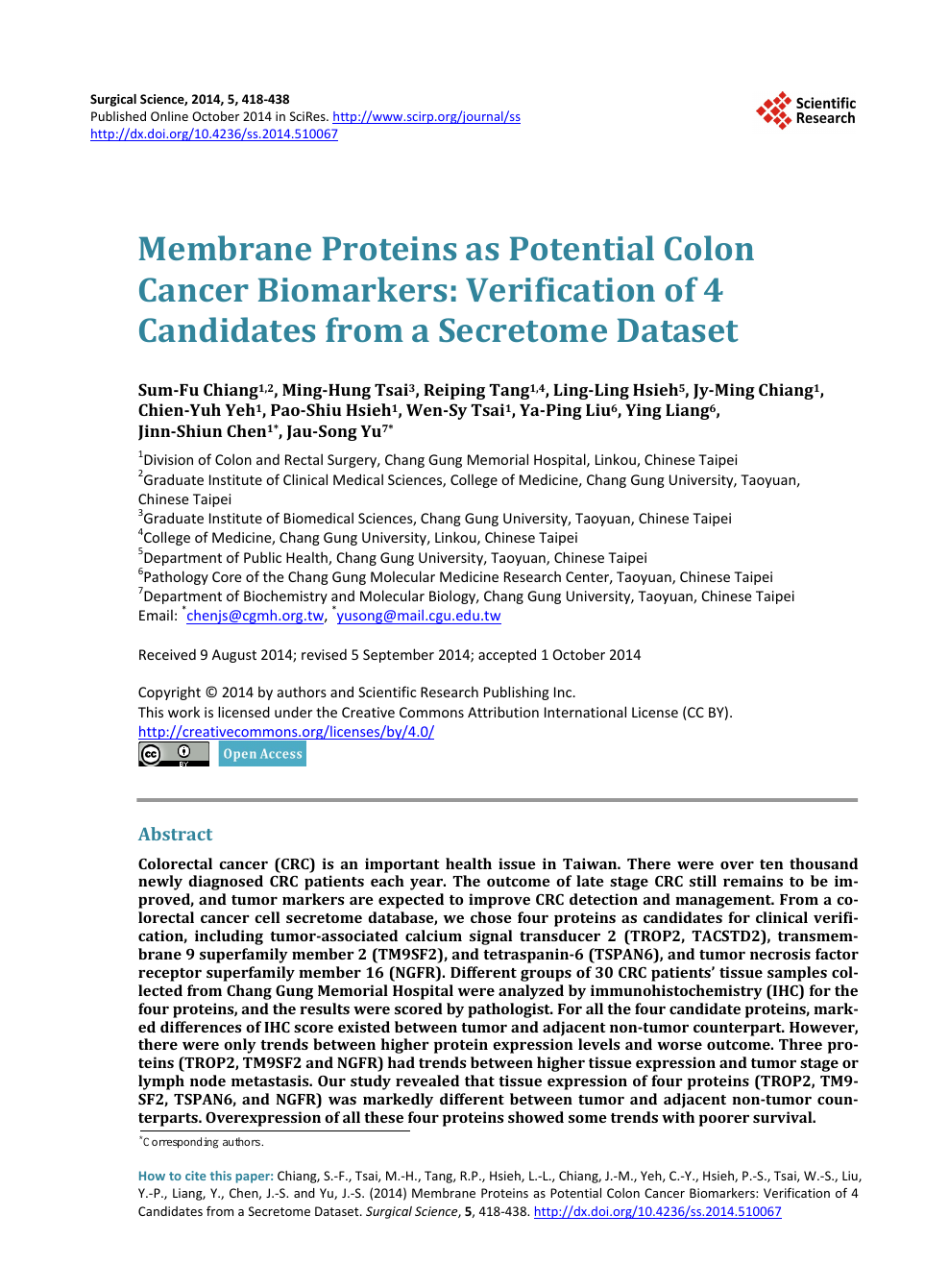 Membrane Proteins As Potential Colon Cancer Biomarkers Verification Of 4 Candidates From A Secretome Dataset Topic Of Research Paper In Clinical Medicine Download Scholarly Article Pdf And Read For Free On