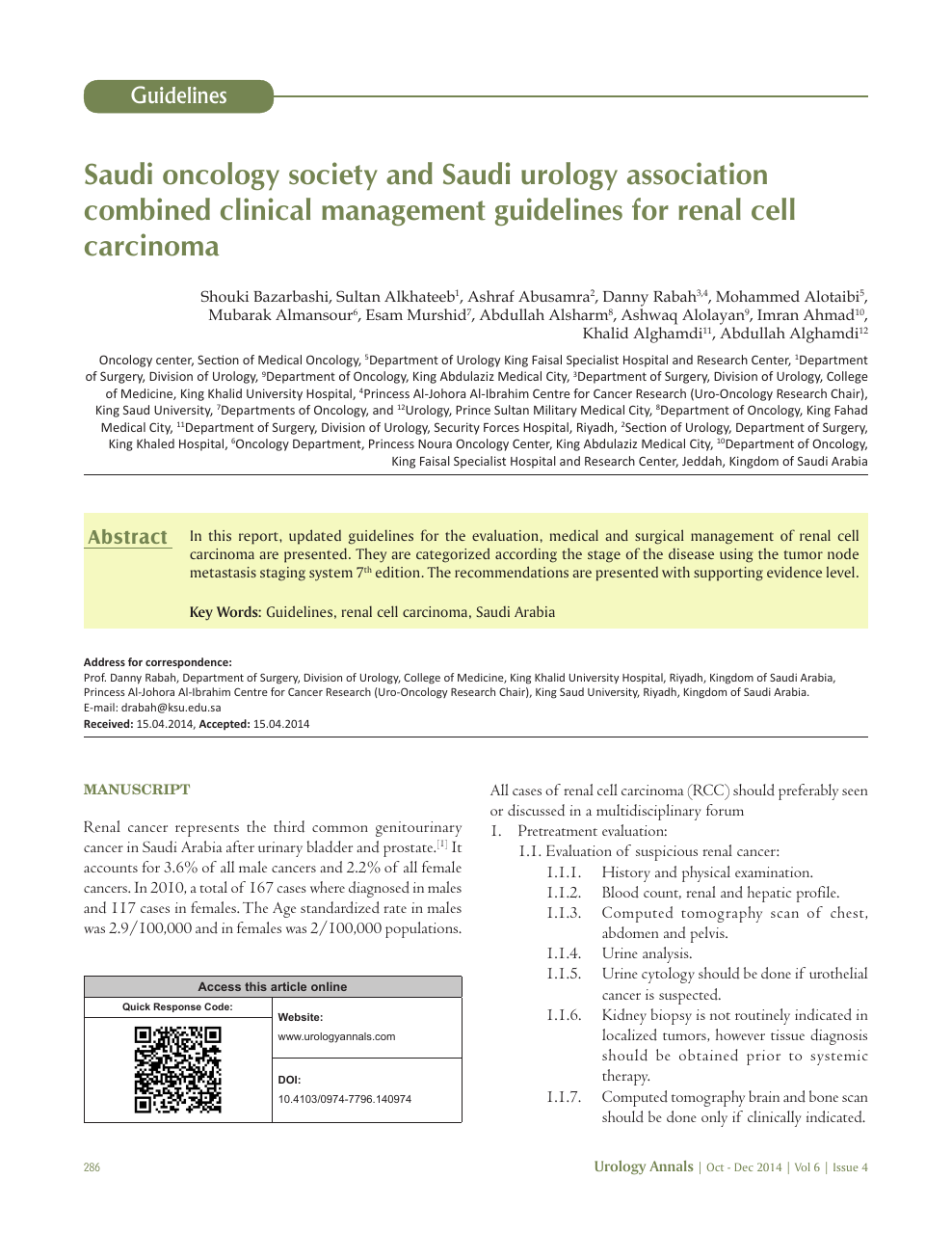 Saudi Oncology Society And Saudi Urology Association Combined Clinical Management Guidelines For Renal Cell Carcinoma Topic Of Research Paper In Clinical Medicine Download Scholarly Article Pdf And Read For Free On