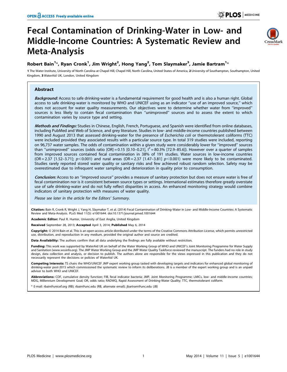 Fecal Contamination of Drinking-Water in Low- and Middle