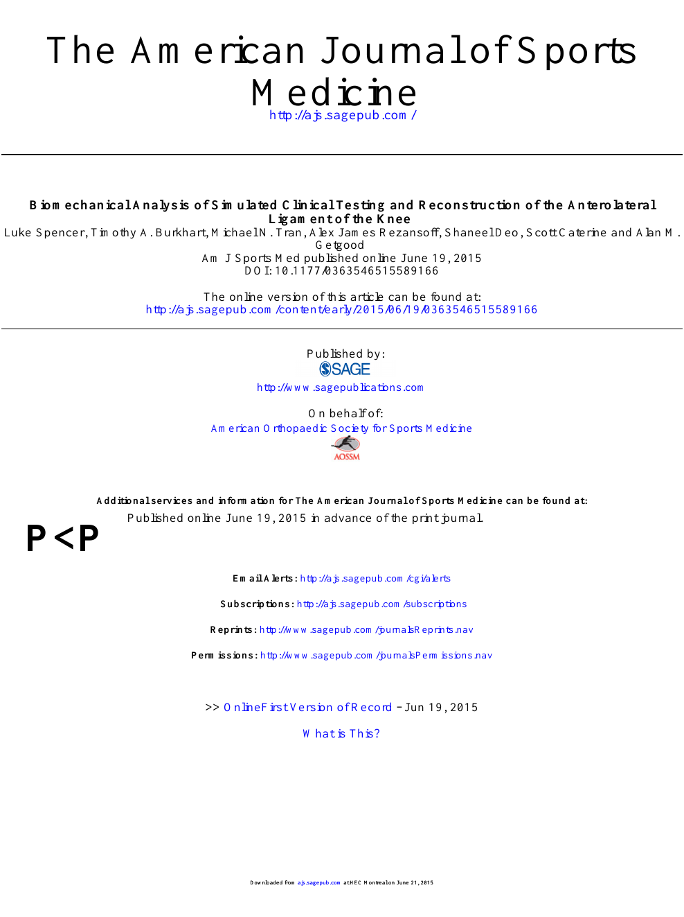 Biomechanical Analysis of Simulated Clinical Testing and