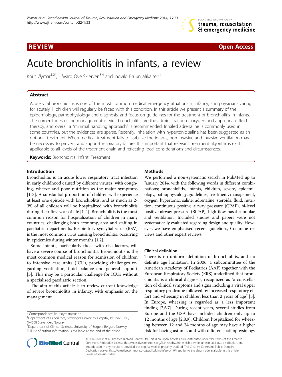 Acute bronchiolitis in infants, a review – topic of research