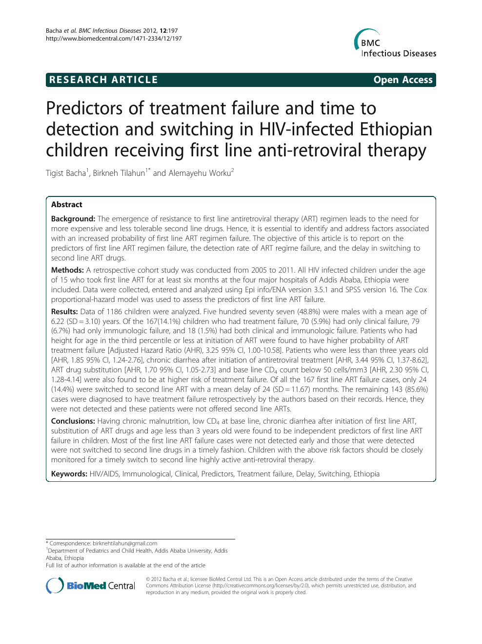 Predictors of treatment failure and time to detection and