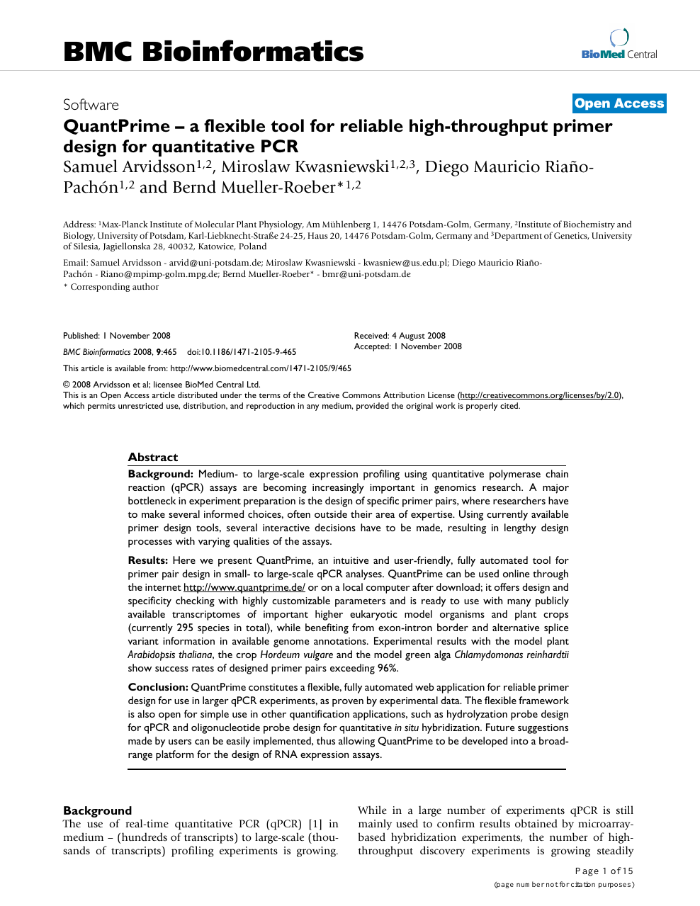 Quantprime A Flexible Tool For Reliable High Throughput Primer Design For Quantitative Pcr Topic Of Research Paper In Biological Sciences Download Scholarly Article Pdf And Read For Free On Cyberleninka Open