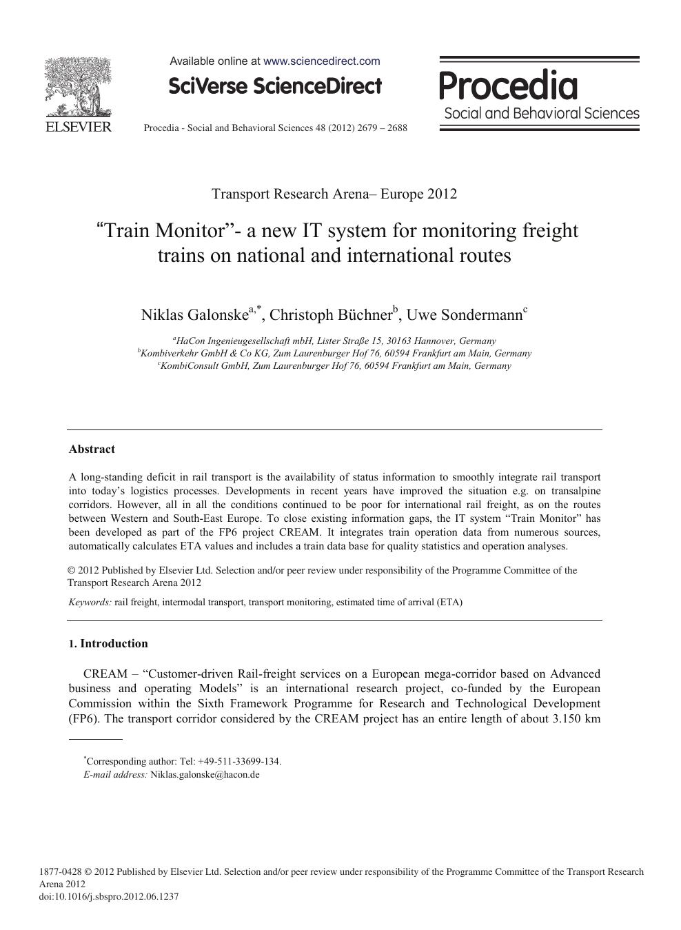 """Train Monitor""""-A New IT System for Monitoring Freight Trains on"""