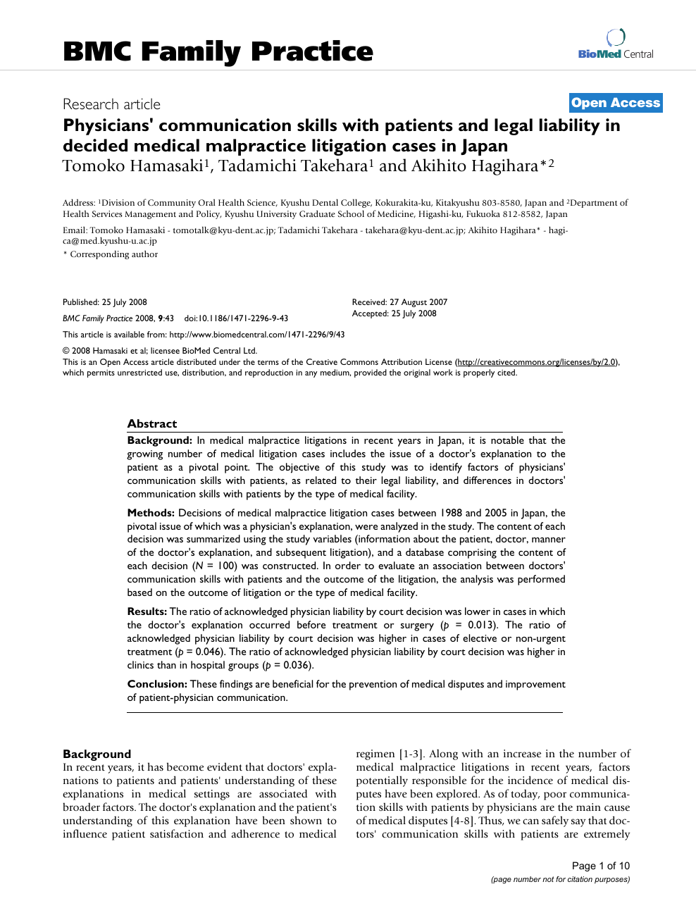 Physicians' communication skills with patients and legal